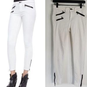 Rag & Bone - White Jeans with Moto Zipper Accents